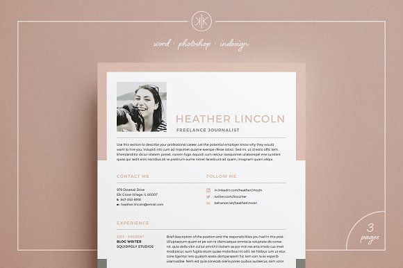 Resume/CV | Heather by Keke Resume Boutique on @creativemarket Downloading the file will allow access to your professionally designed, 2 page resume template + cover letter. The template can be easily customized to your liking and includes all necessary files for a quick set-up. Delete or add anything you desire in the document, change colors or simply keep the original design.