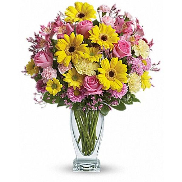 Pure pretty! This classic floral design puts a romantic spin on your #birthday wishes in soft shades of pink and yellow. Presented in an antique-style vase, the traditional #bouquet is finished with a fun Mylar #balloon. #Corporate #Flowers #Delivery to USA