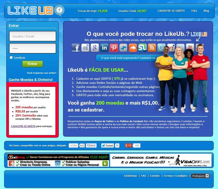 Ganhe curtidas, seguidores, dinheiro e muito mais com LikeUb saiba mais.http://lkub.in/?ref=38993