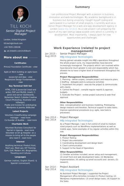 media manager cv e senior digital project manager till koch  Being visual  Resume Sample