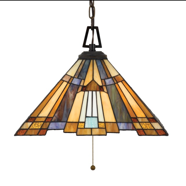 Love craftsman style glass.This Three Light Down Pendant has a Valiant Bronze…