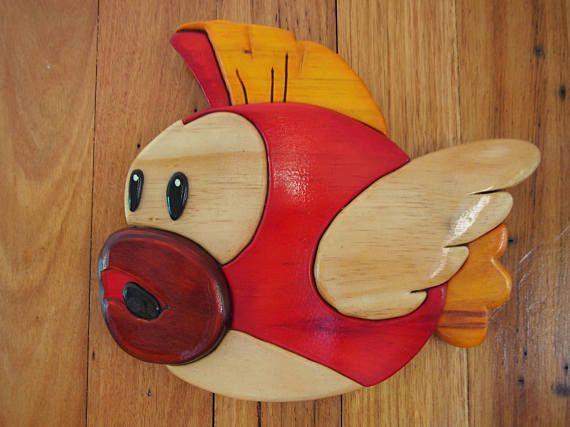 Mario Cheep Cheep Fish 3D segmented wood intarsia pattern for