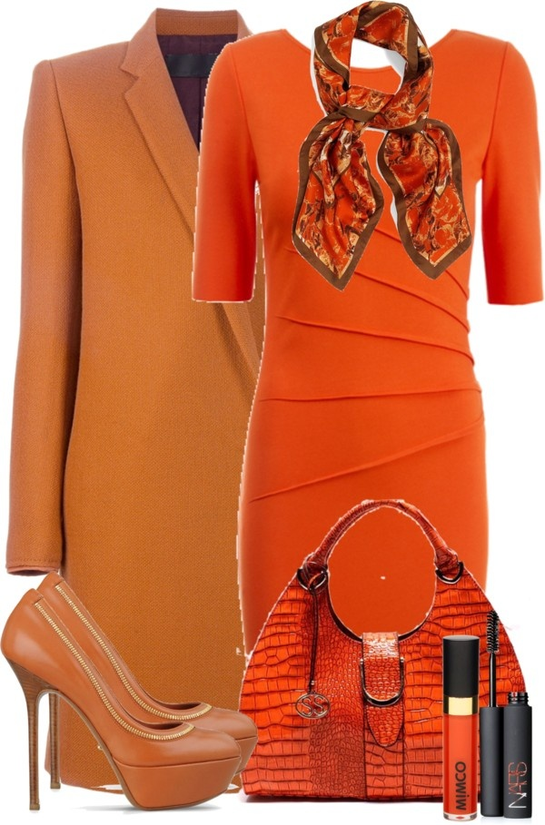 """Orange Dress"" by denise-schmeltzer on Polyvore"