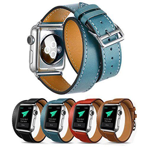 Surwin Apple Watch Armband 42 mm, Echt Leder Ersatzband iWatch Armband aus Leder Elegant Luxuriös mit Metallverschluss - Blau - http://on-line-kaufen.de/surwin/surwin-apple-watch-armband-echt-leder-ersatzband-3