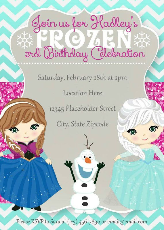 Frozen Invite - Frozen Birthday Invitation - Elsa Anna Olaf - DIY Printable File
