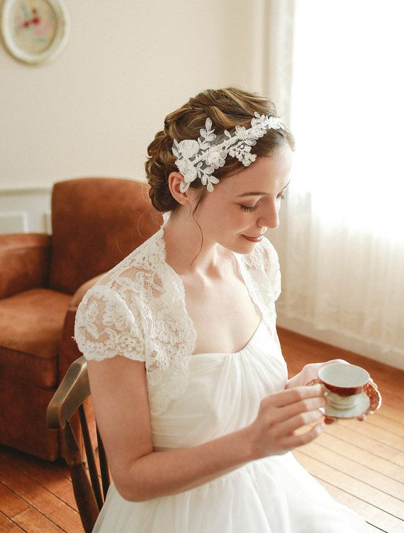 STYLE - #217 CODE:HDB011 Floral lace headband. Lace wedding headband features romantic floral lace composed of dainty chiffon flowers and cascading leaves. To order yours, contact us on loca@localoca.co.za www.localoca.co.za