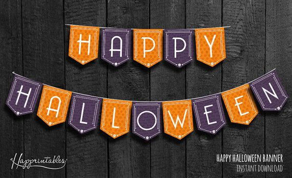 Welcome to Happrintables! This is a Happy Halloween banner. The perfect decoration for your spooky party! 14 orange and purple letters of 5.9 x
