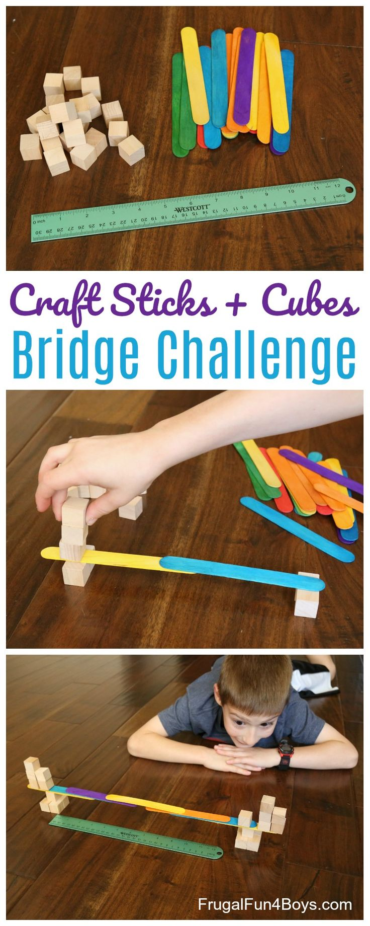 Craft sticks are definitely one of my favorite building materials for kids!  They are so cheap, and you can use them in a multitude of different ways.  In this STEM activity, challenge kids to construct the longest possible bridge using only craft sticks and wooden cubes.  No glue, no tape, no adhesives of any kind!  This is a great way to explore gravity and balance points, while encouraging cooperative learning.  It's really hard to build a bridge by yourself, but with a friend the task...