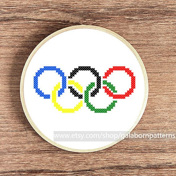 Counted cross stitch pattern PDF - Modern - Olympic symbols - Olympic flag