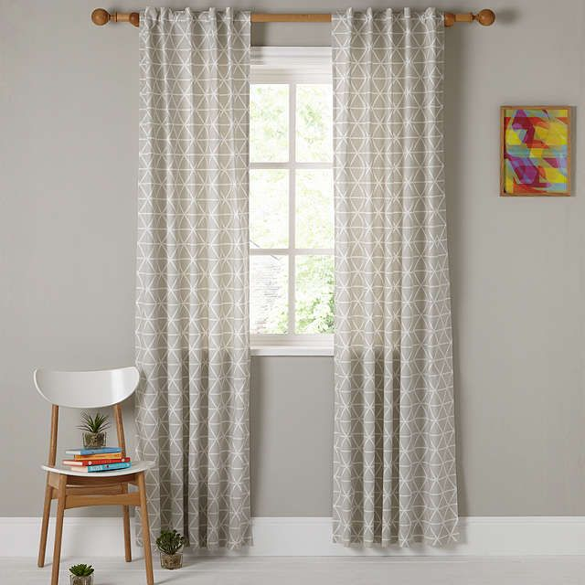 BuyHouse By John Lewis Geometric Hidden Tab Top Unlined Curtains Smoke W117 X 137cm