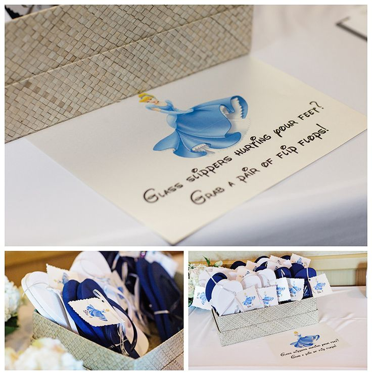 """Put out a Cinderella-inspired flip-flop basket where guests can shed their """"glass slippers"""" in favor of something more comfortable! 