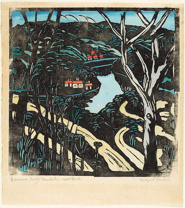 The winding road to Berowra waters, (circa 1939) by Margaret Preston Print Materials used woodcut, printed in black ink, hand coloured in gouache on cream laid Japanese paper (Australian art)