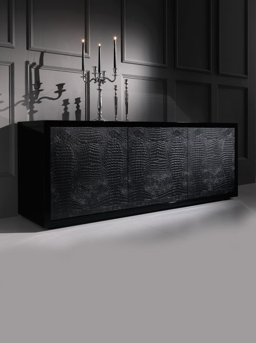 Diva Collection black alligator buffet sideboard. Shown here in black alligator skin with a black glossy lacquered surround and top