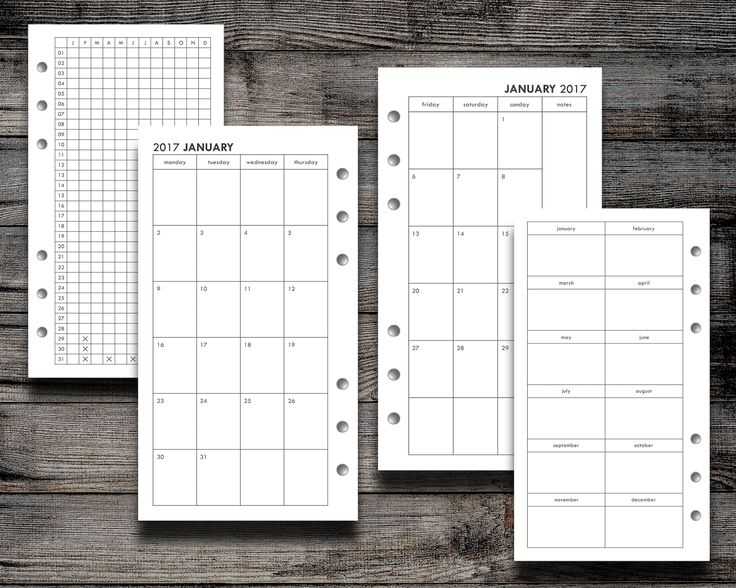 FILOFAX FREEBIE: 2017 Month on Two Page (Personal, Pocket, and Half Size) Mo2P Monthly Calendar