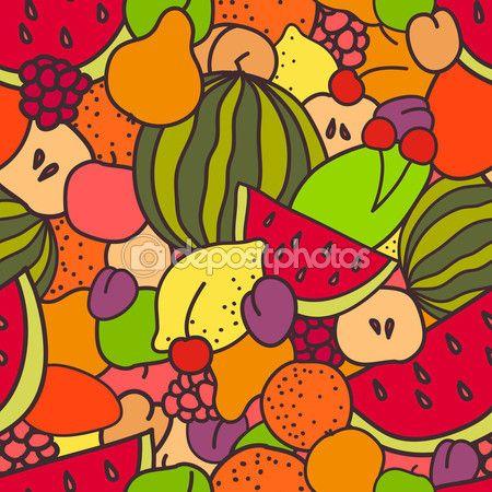 Фрукты и ягоды бесшовный фон — стоковая иллюстрация #62236807