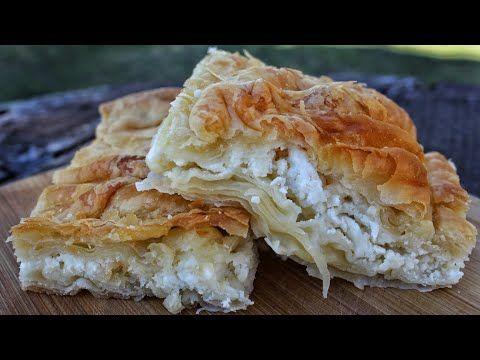 """Η πιο εύκολη """"χωριάτικη"""" τυρόπιτα με σπιτικό φύλλο - Greek feta pie - YouTube"""