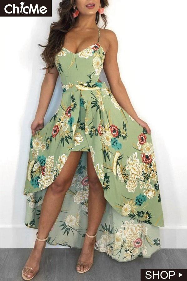 c538f003617 Crisscross Back Dip Hem Floral Print Dress   Chic Me Dress in 2019 ...