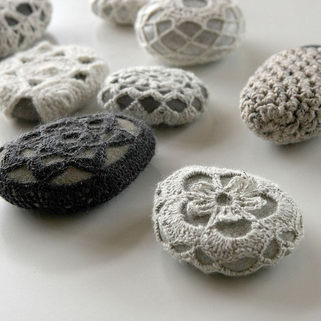 OK... so I've crocheted about 50 things in the last couple of weeks but you know you have a serious problem if you are making crochet covers for rocks