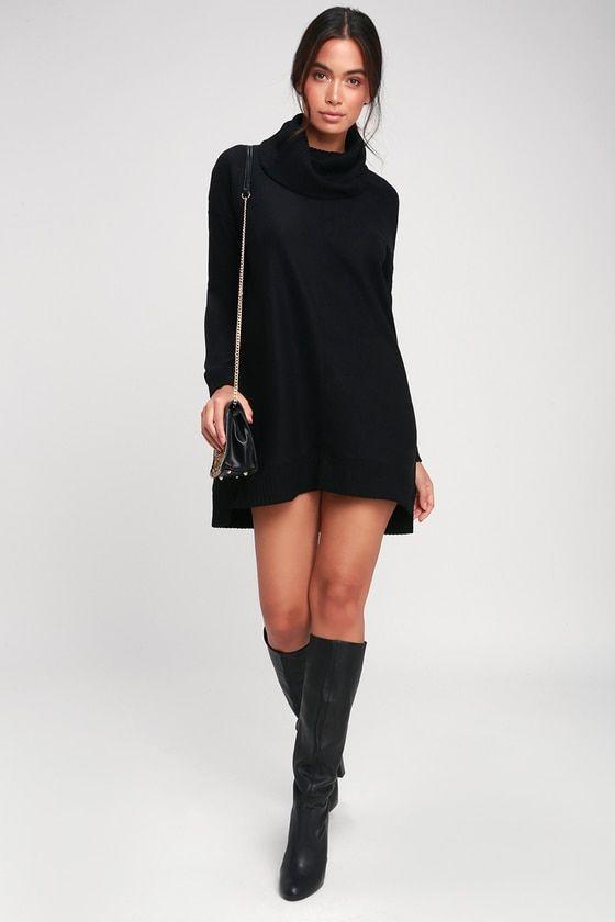 7c2592d38d3 Let the Lulus Autumn Daze Black Cowl Neck Long Sleeve Sweater Dress ...