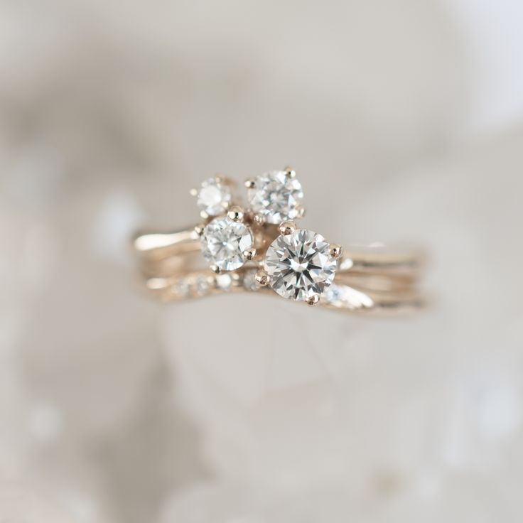 diamond cluster ring - a set of two rings matching by their organic shapes - made by 27JEWELRY
