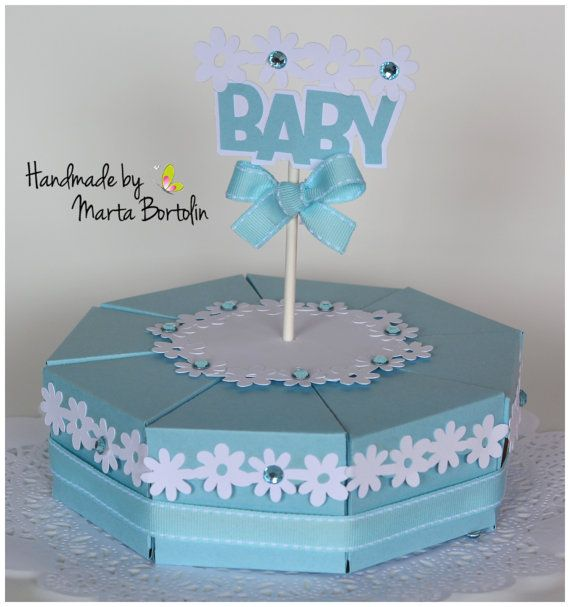 Baby Shower Centerpiece Paper Cake Favor Boxes  by tracesofcrafts