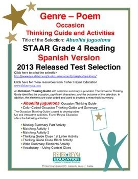 This classroom tested product includes the complete analysis for the Spanish STAAR released test selection: Abuelita juguetona. It is released as a 4th grade selection, but may serve as a model for how poetry text should be analyzed for comprehension.