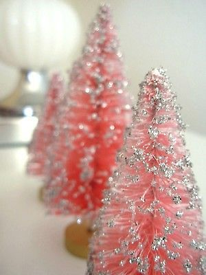 Super Set 6 Vintage PINK & SILVER Glitter Bottle Brush Trees, Putz Doll, Xmas