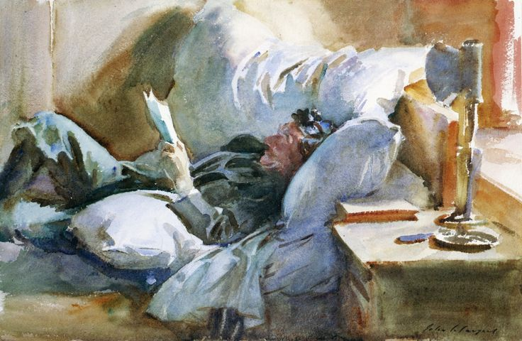 Man Reading (also known as Sabastino) by John Singer Sargent. 1905. Watercolor over pencil on paper.