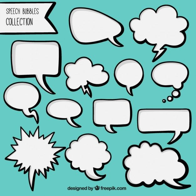 Pack of desenhado à mão balões de fala em quadrinhos brancas Vetor grátis                                                                                                                                                                                 Mais