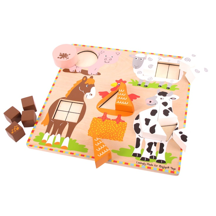 These five farmyard animals are all carrying a different number of shapes, but can you match them up correctly? The chunky shapes are easy for little hands to pick up and place on the board as they learn to count from one to five, exploring the different shapes and colours. An educational puzzle which helps to develop an understanding of how different shapes and numbers can work together. Ages 2 years+. http://shop.bigjigstoys.co.uk/p/farm-animal-shape-sorter