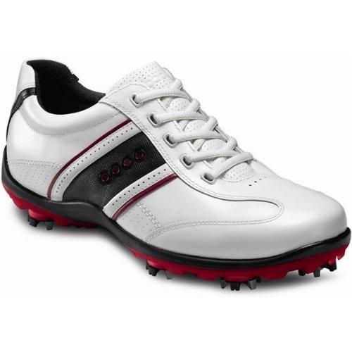 ECCO Men's Casual Cool II Hydromax Golf Shoe,White/Chili Red/White ...