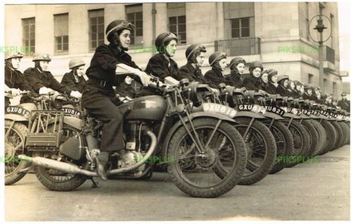 WW2 MILITARY TRANSPORT PHOTO WOMEN DISPATCH RIDERS & ROYAL ENFIELD MOTORCYCLES in Collectables, Photographic Images, Antique (Pre-1940), Photographs   eBay