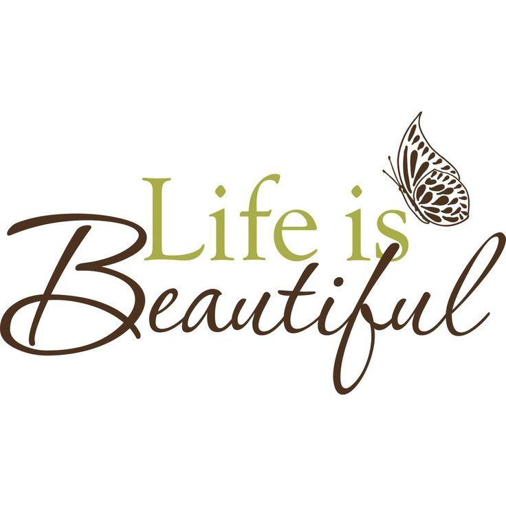 WallPops Life Is Beautiful Wall Decal, Brown/Green
