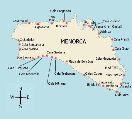 Mapa de las calas de Menorca