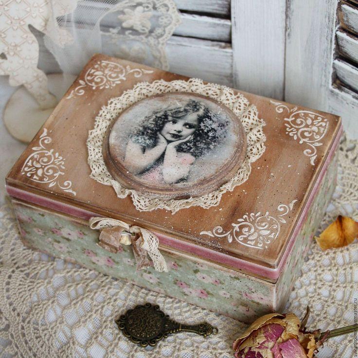 """Купить Шкатулка """"Грета"""" - розовый, шкатулка, шкатулка для украшений, шкатулка для рукоделия, шкатулка декупаж"""