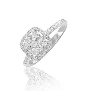 Bague Carrée Diamants Or Blanc - 0,55 carat