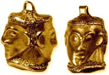 Gold Celtic 'Janus Head' pendant from Schumen region, northeastern Bulgaria (4th/3rd c. BC)  (after Rustoiu A. (2008) 'Dr. Jekyll/Mr. Hyde' – A double faced gold pendant from the History Museum of Schumen (Bulgaria) and the glass masked-beads. I