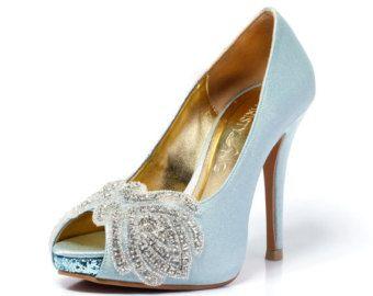 Tiffany Blue Peep Toe mariage talon avec Swarovski Elements, bleu talon nuptiale, talon de mariée en Satin Something Blue, bleu chaussures de mariage.