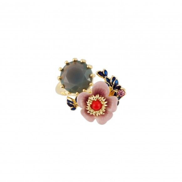 Pink flower, blue leaves and blue-grey stone adjustable ring