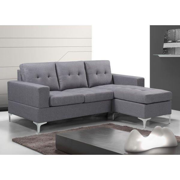 Sofa Chaiselongue Gris 200 Cm Viana Decoracion Sofa Gris Tapiceria Muebles Chaise Longue