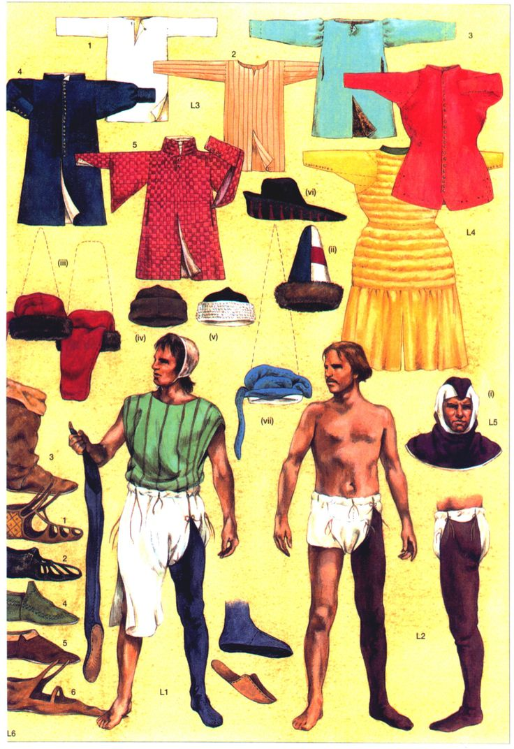 Non-Miltary Clothing L1-Late 13th century underclothes; L2-Late 14th century underclothes L3-Shirts and tunics. 1, white linen shirt with wooden button. 2 Italian shirt of the 14th century. 3, fur-lined tunic; note the pockets are merely holes. 4, long tunic of with a tall quilted collar. L4- Long and short versions of the quilted perpunto. L5- Hoods and hats. (i) woollen hood with short tail thrown fowards. (ii) fur-lined hat with outer fabric in heraldic colours. [...]