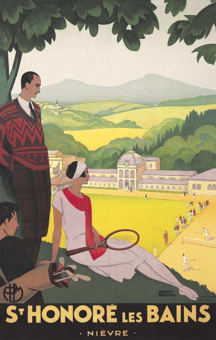 Vintage Travel Poster by Roger Broders: St. Honoré les Bains, France - Département de la Nièvre