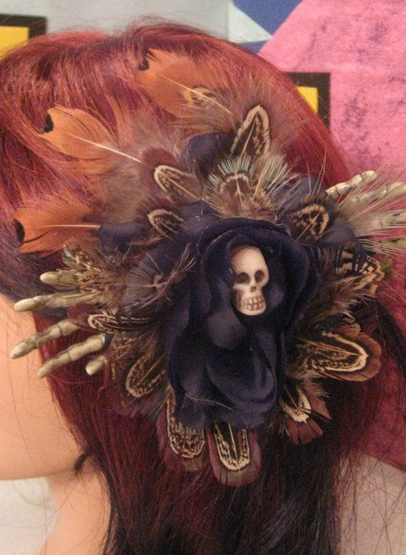 voodoo feather hair rose! love this idea for creating a miniature floating spook!
