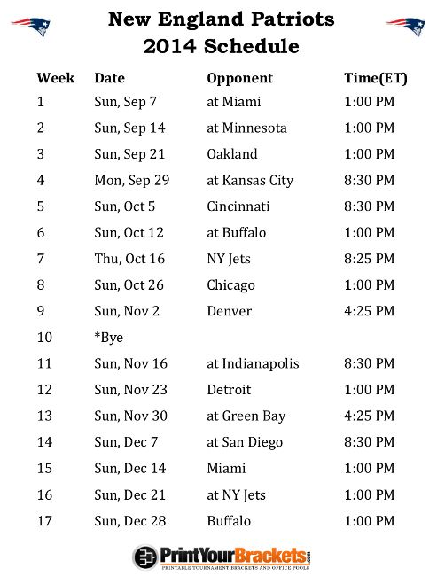Printable New England Patriots Schedule - 2014 Football Season