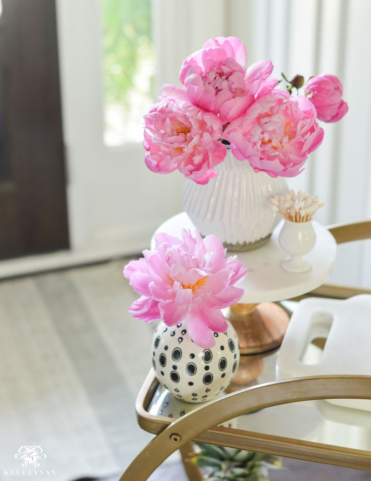 Easy Tropical Bar Cart with Peonies and Pineapple-peonies in black and white west elm vase