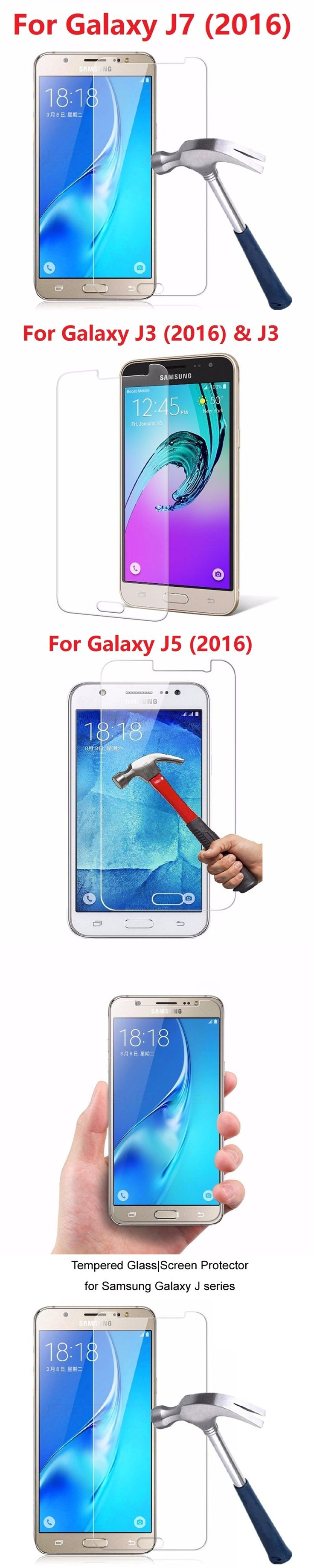 Real premium tempered glass film for samsung galaxy 2016 J1 J2 J3 J5 J7 strach proof screen protector phone film for samusng