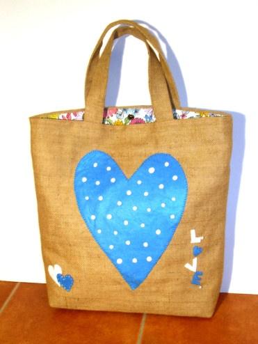 LOVE IS IN THE AIR Jute Tote Bag
