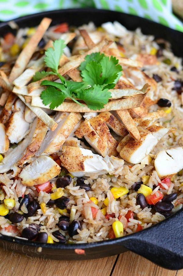 Chicken Tortilla Rice Skillet   from willcookforsmiles.com