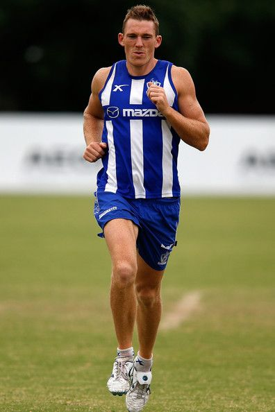 Drew Petrie runs during a North Melbourne Kangaroos AFL training session at Arden Street Ground on March 27, 2014 in Melbourne, Australia.
