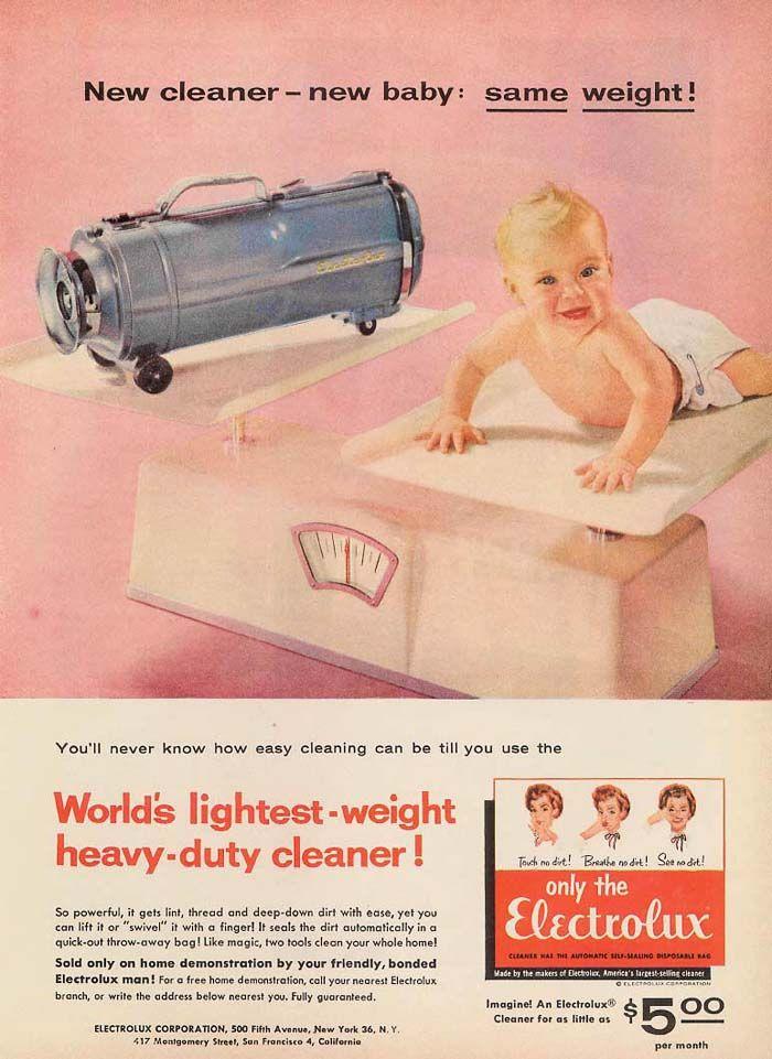 ~| ELECTROLUX 1954 MODEL E |~  - vintage retro advertisement for vacuum cleaner  1950s